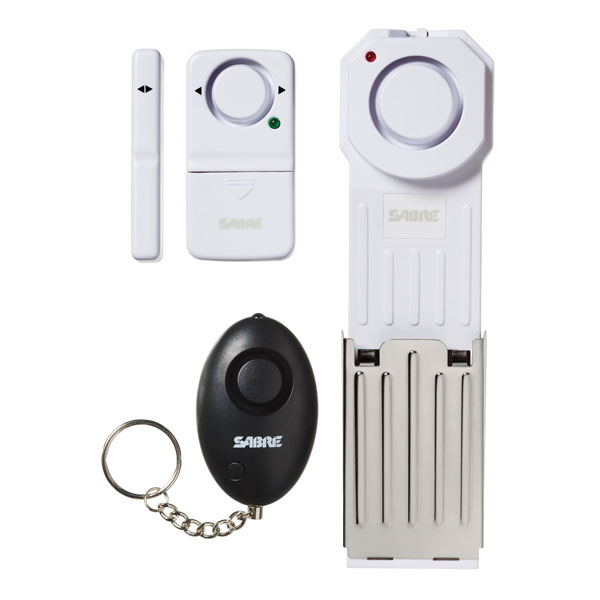 Out of packaging: SABRE Dorm / Apartment Kit with Door Stop Alarm, Door and Window Alarm and Personal Alarm.