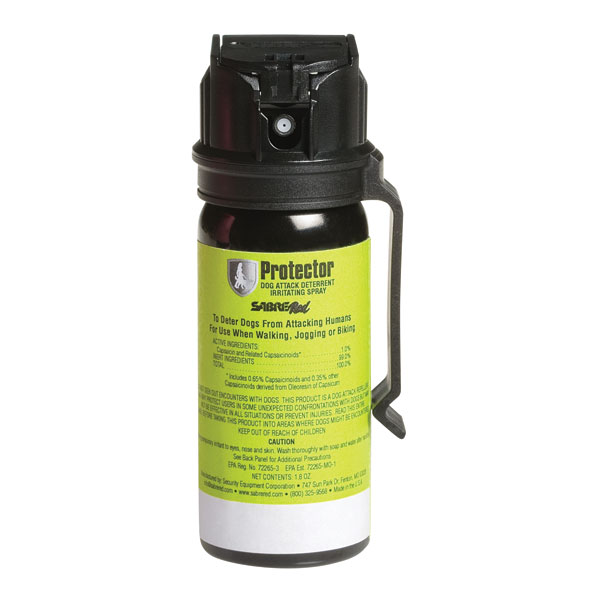 Protector Dog Spray with Belt Clip (Professional Model). Packaging shows woman walking dog while carrying dog spray.