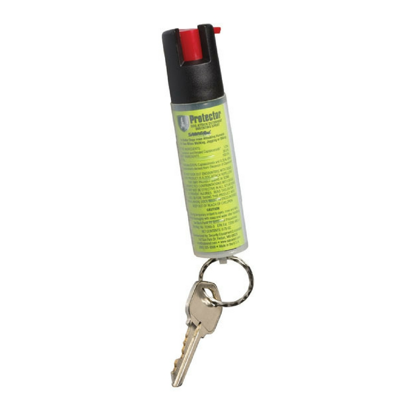 Protector Dog Spray with Key Ring. Packaging shows woman walking dog while carrying dog spray.
