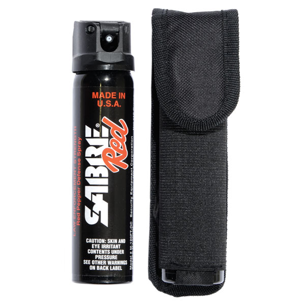 Out of packaging: SABRE Red Magnum 120 Pepper Spray with Flip Top & Belt Holster.