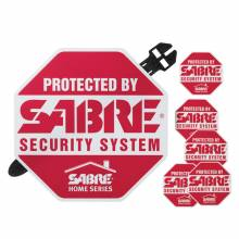 SABRE yard sign and security decals are ready to be used in minutes. They can be placed in the front yard and stuck to windows to show criminals your home is protected.